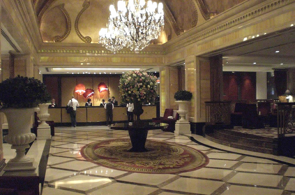 The Langham Hong Kong Hotel reception area