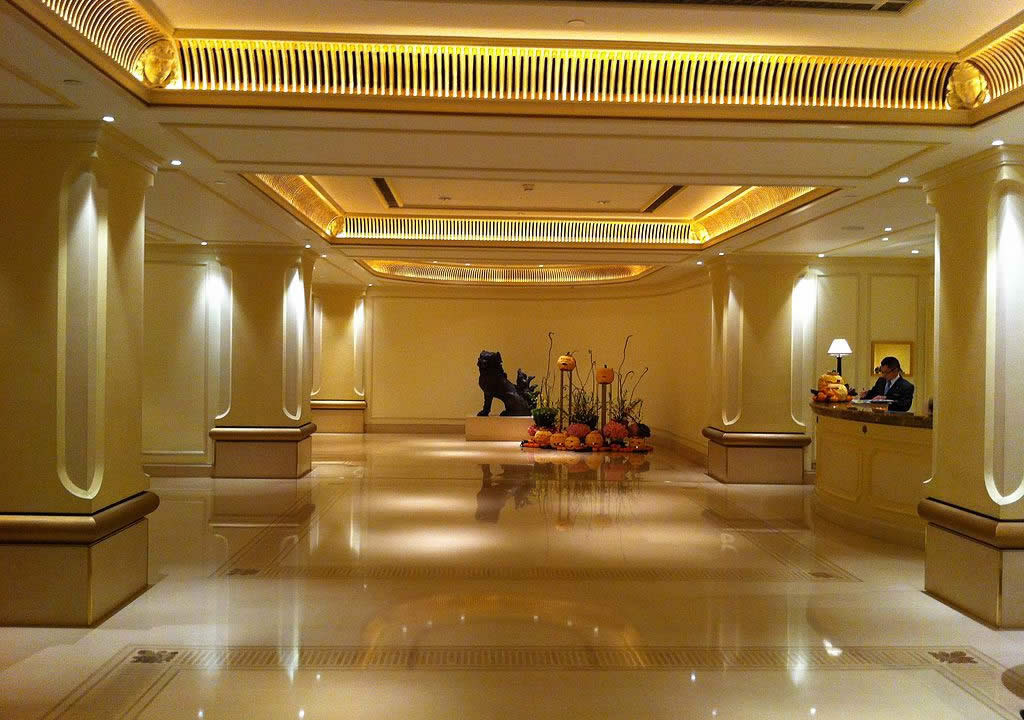 The Peninsula Hong Kong Hotel lobby hall interior